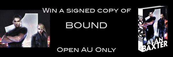 A signed copy of Bound by Alan Baxter